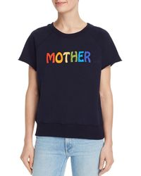 Mother The Square Embroidered Logo Sweatshirt - Blue