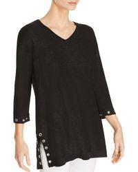 Avec - Grommet-trim Slub-cotton Sweater - Lyst