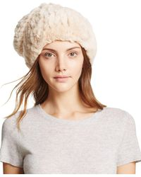 Surell Rabbit Fur Slouch Hat - Natural