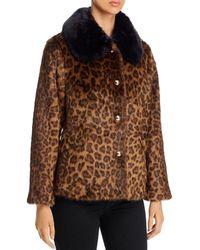 Kate Spade Leopard Print Faux Fur Coat - Brown