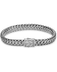 John Hardy - Sterling Silver Classic Chain Pavé Diamond Flat Chain Bracelet - Lyst