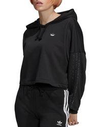 adidas Cropped Logo Hoodie - Black
