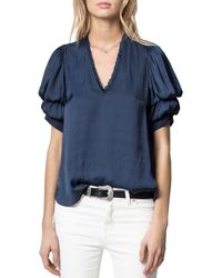 Zadig & Voltaire Puffed Sleeve Top - Blue