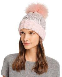 Aqua Fur Pom - Pom Metallic Beanie - Pink