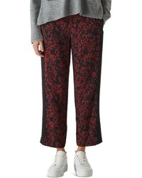 Whistles Jungle Cat Print Crepe Trouser - Red