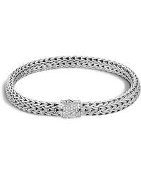 John Hardy Classic Chain Sterling Silver Small Bracelet With Diamond Pavé - Metallic