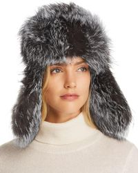 Maximilian Fox Fur Trapper Hat - Black