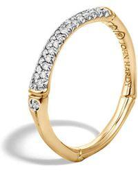 John Hardy - Bamboo 18k Yellow Gold Diamond Pavé Slim Band Ring - Lyst
