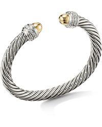 David Yurman - Cable Bracelet With 14k Yellow Gold Dome & Diamonds - Lyst