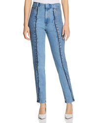 Ksenia Schnaider High - Waist Stitched Straight Jeans In Medium Denim - Blue