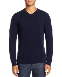 Theory Hilles Cashmere V - Neck Sweater - Blue