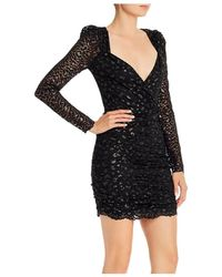 Saylor - Leopard Lace Long - Sleeve Mini Dress - Lyst
