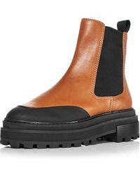 Aqua Mud Guard Block Heel Platform Chelsea Boots - Black