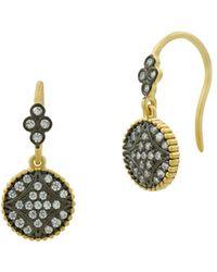 Freida Rothman Signature Pavé Disc Hook Drop Earrings - Metallic