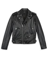 The Kooples Leather Distressed Biker Jacket - Black
