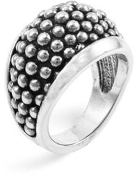"Lagos Sterling Silver ""caviar"" Domed Ring - Metallic"