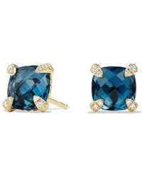 David Yurman - Châtelaine Earrings With Hampton Blue Topaz And Diamonds In 18k Gold - Lyst