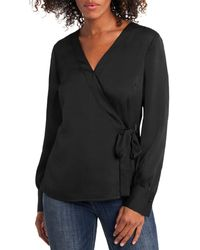 Vince Camuto Long Sleeve Wrap Front Shirt - Black