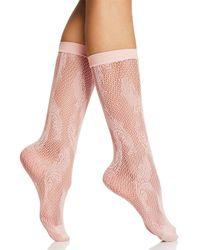 Natori Fishnet Plume Crew Socks - Pink