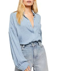 Free People Blouson Sleeve Button-up Shirt - Blue