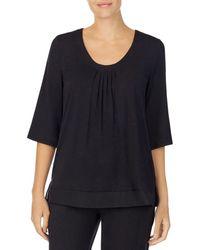 Donna Karan Sleepwear Chiffon Trim Sleep Top - Black