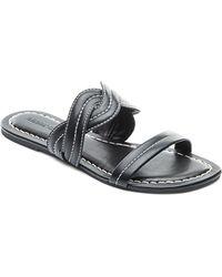 Bernardo - Women's Leather Double Strap Slide Sandals - Lyst