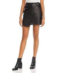 Joie Leonna Leather A - Line Mini Skirt - Black