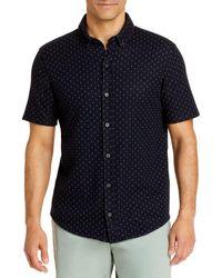 Vince Jacquard Short Sleeve Button Down Shirt - Blue