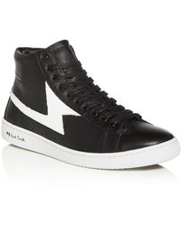 Paul Smith Men's Zag Lightning Leather High - Top Sneakers - Black