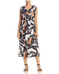 Kenneth Cole Triple Tie Neck Abstract Print Midi Dress - Black