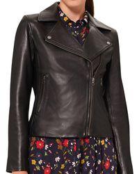 Hobbs Tania Leather Moto Jacket - Black