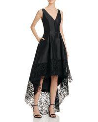 Betsy & Adam High/low Illusion-hem Dress - Black