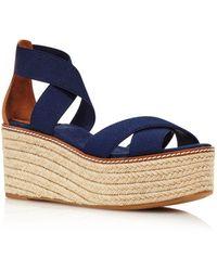 Tory Burch Women's Frieda Platform Espadrille Sandals - Blue