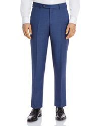 Zanella Parker Sharkskin Regular Fit Dress Trousers - Blue