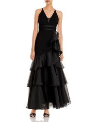 Aidan Mattox Sleeveless Tiered Chiffon Gown - Black