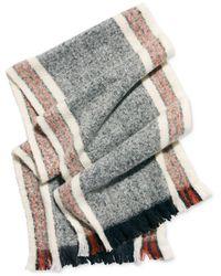Free People Brushed Racer Stripe Blanket Scarf - Grey