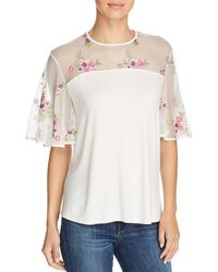 Kim & Cami - Floral-embroidered Flutter-sleeve Top - Lyst