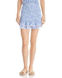 Lost + Wander Lost + Wander Pick Me Smocked Ruffled Mini Skirt - Blue