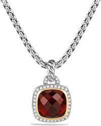 David Yurman - Albion Pendant With Garnet And Diamonds With 18k Gold - Lyst