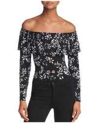 Guess Off-the-shoulder Pleated-overlay Floral Bodysuit - Black