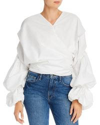 Acler Melross Puff - Sleeve Wrap Top - White