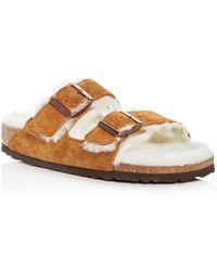 bdb4a732ada1dd Birkenstock - Women s Arizona Suede   Shearling Slide Sandals - Lyst
