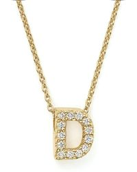 Roberto Coin - 18k Yellow Gold And Diamond Initial Love Letter Pendant Necklace - Lyst
