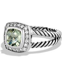 David Yurman Petite Albion Ring With Prasiolite & Diamonds - Metallic