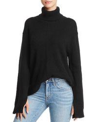 Aqua - Cashmere Seamed Cashmere Turtleneck Sweater - Lyst
