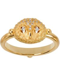 Temple St. Clair - Mini Owl Diamond & 18k Yellow Gold Ring - Lyst