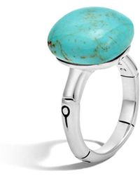 John Hardy Batu Bamboo Silver Ring With Turquoise - Metallic