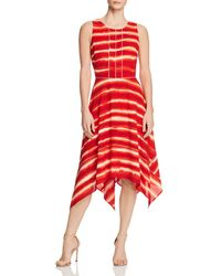Donna Karan - New York Striped Handkerchief-hem Dress - Lyst