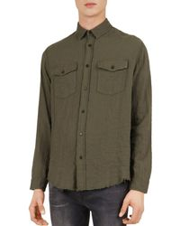 778fca7ec76 The Kooples - Military Distressed Regular Fit Button-down Shirt - Lyst
