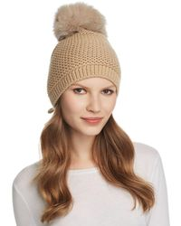 Kyi Kyi Slouchy Hat With Fox Fur Pom - Pom - Brown
